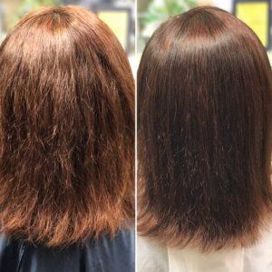 傷みの少ない縮毛矯正とカラー